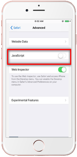 Enable javascript on iphone