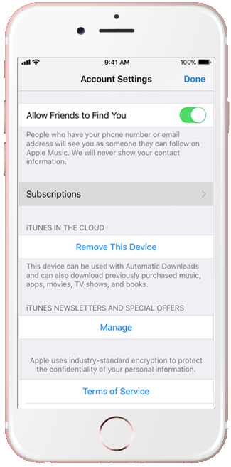click on the subscriptions option in iPhone