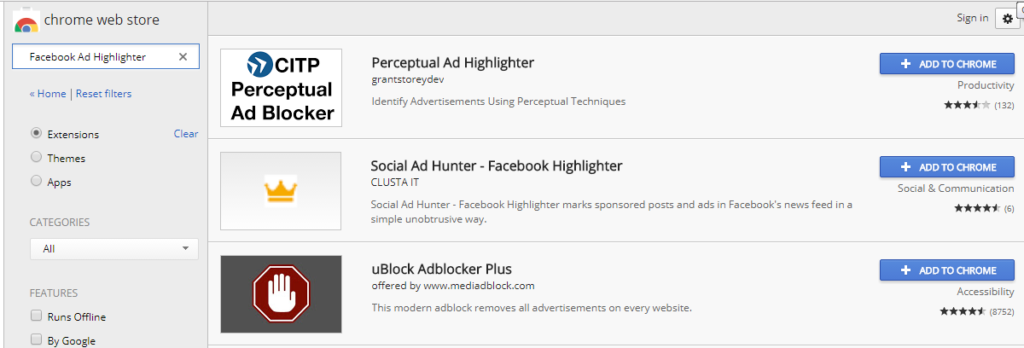 How to get ride of facebook ads with Chrome Web Store