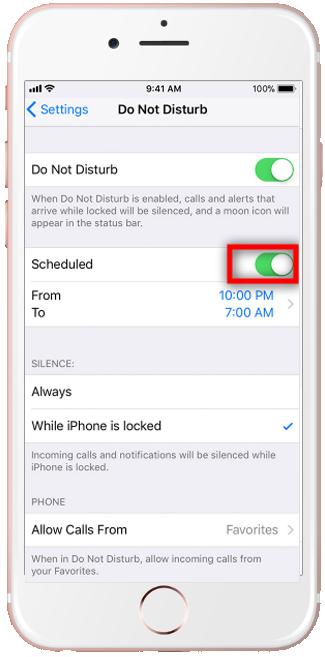 iPhone do not disturb Scheduled