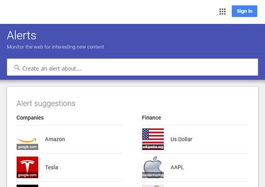 google alerts login