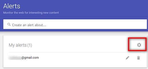 google alerts setting
