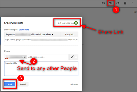 share and send google drive files
